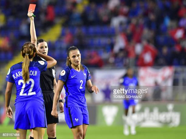 France's defender Eve Perisset is sent off by Hungarian referee Katalin Kulcsar during the UEFA Women's Euro 2017 football match between Switzerland...