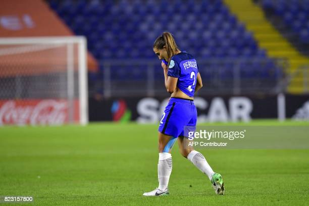 France's defender Eve Perisset walks off the pitch after being sent off during the UEFA Women's Euro 2017 football match between Switzerland and...