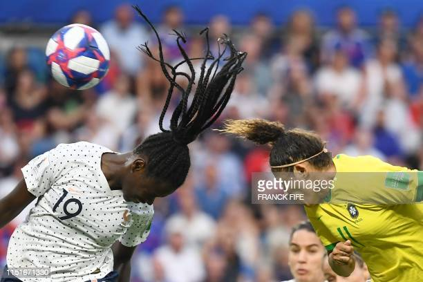 TOPSHOT France's defender Griedge Mbock Bathy vies with Brazil's forward Cristiane during the France 2019 Women's World Cup round of sixteen football...