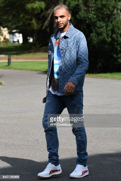 France's defender Layvin Kurzawa arrives at the French national football team training base in Clairefontaine on August 28 as part of the team's...