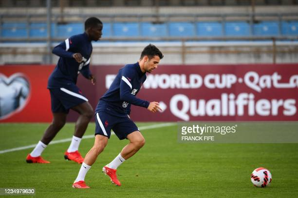 France's defender Leo Dubois takes part in a training session at the Meineau stadium in Strasbourg, eastern France, on August 31, 2021 on the eve of...