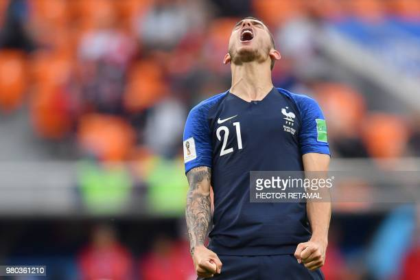 TOPSHOT France's defender Lucas Hernandez reacts during the Russia 2018 World Cup Group C football match between France and Peru at the Ekaterinburg...