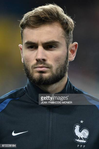 France's defender Lucas Hernandez poses before the Euro 2018 U21 qualifying football match between France and Bulgaria at MMArena Stadium in Le Mans...