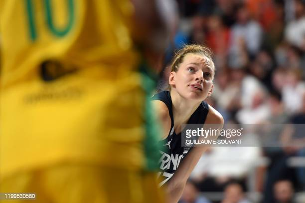 France's defender Marine Johannes looks on during the FIBA Women's Olympic Qualifying Tournament match between France and Brazil on February 8 at the...