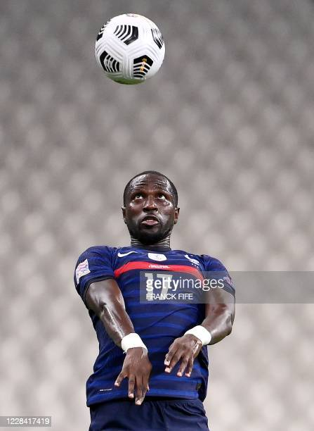 France's defender Moussa Sissoko heads the ball during the UEFA Nations League Group C football match between France and Croatia on September 8 2020...