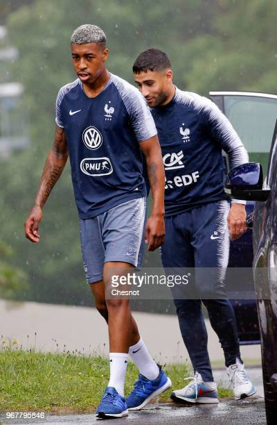 France's defender Presnel Kimpembe and Midfielder Nabil Fekir arrive for a lunch with French President Emmanuel Macron at at the National Football...