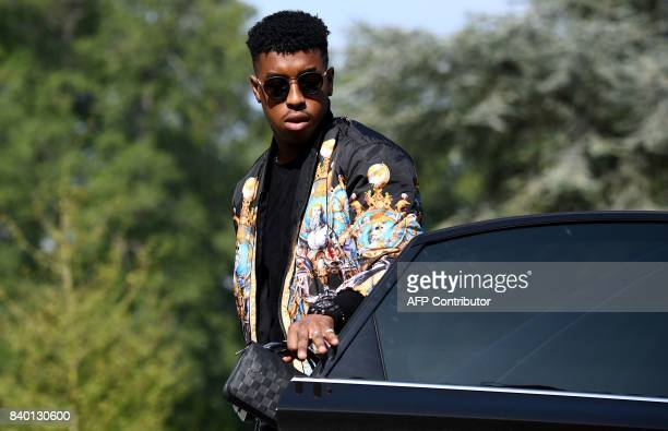 France's defender Presnel Kimpembe arrives at the French national football team training base in Clairefontaine on August 28 as part of the team's...