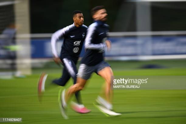 France's defender Presnel Kimpembe attends a French national football team training session in Clairefontaine-en-Yvelines, southwest of Paris on...