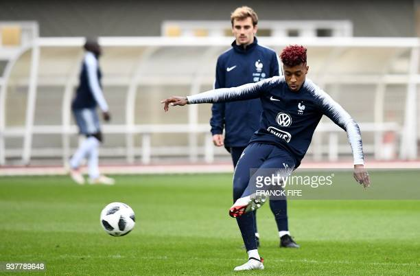 France's defender Presnel Kimpembe practices during a training session in ClairefontaineenYvelines on March 25 as part of the team's preparation for...