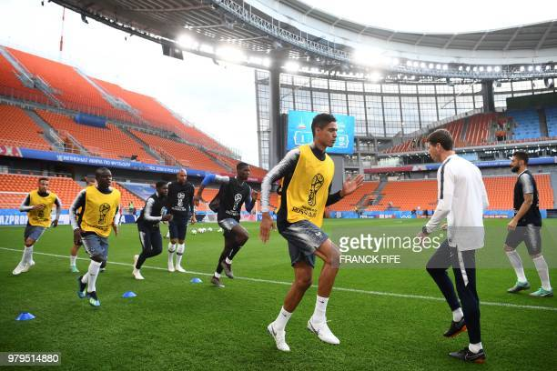 France's defender Raphael Varane attends a training session at the Ekaterinburg Arena in Ekaterinburg on June 20 2018 on the eve of the Russia 2018...