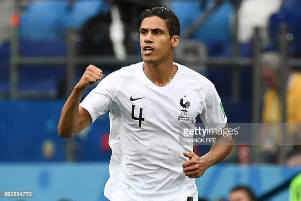 France's defender Raphael Varane celebrates a goal during the Russia 2018 World Cup quarterfinal football match between Uruguay and France at the...