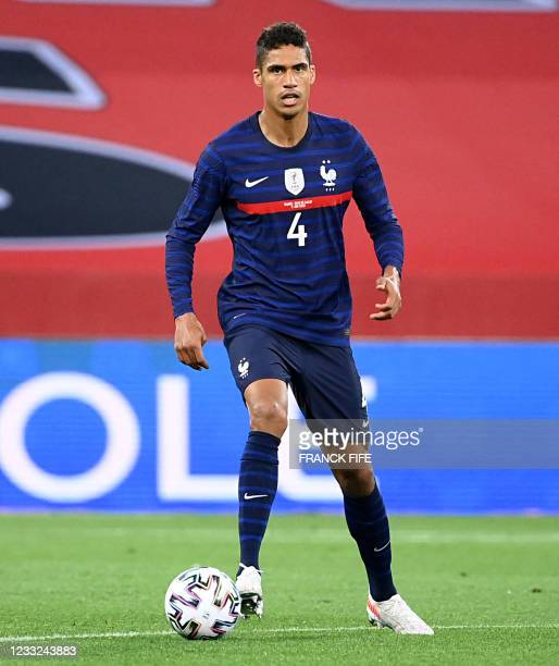 France's defender Raphael Varane controls the ball during the friendly football match between France and Wales at the Allianz Riviera Stadium in...