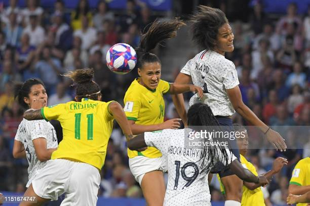 TOPSHOT France's defender Wendie Renard vies with Brazil's defender Kathellen Sousa Feitoza during the France 2019 Women's World Cup round of sixteen...