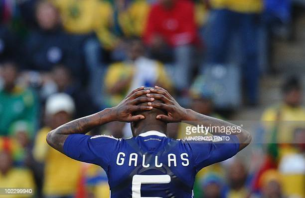 France's defender William Gallas looks dejected at the end of the Group A first round 2010 World Cup football match France vs South Africa on June 22...