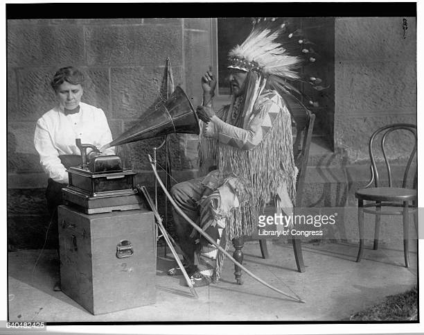 Frances Densmore uses a wax cylinder phonograph to record the native language of the Blackfoot Indians 1916