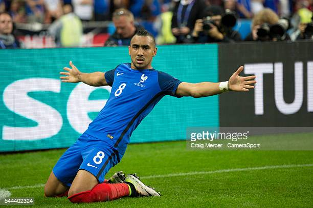 France's Dimitri Payet celebrates scoring his sides third goal during the UEFA Euro 2016 Quarterfinal match between France and Iceland at on July 03...