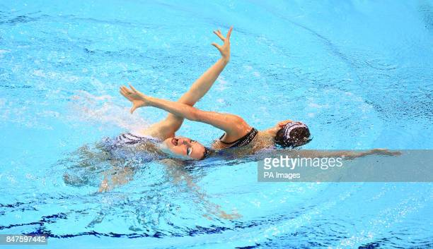 France's Duets Free Routine pair of Sara Labrousse and Chloe Willhelm go through their routine during the Synchronised Swimming Qualifying Event at...