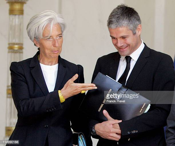 France's Economy and Finance minister Christine Lagarde European Affairs Minister Laurent Wauquiez leave the weekly cabinet meeting at Elysee Palace...