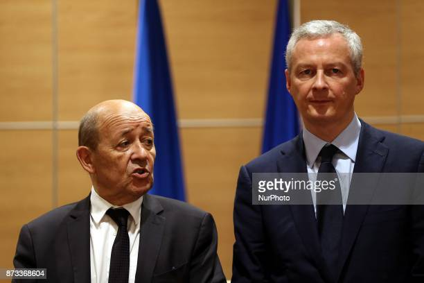 France's Economy Minister Bruno Le Maire and France's Minister for Europe and Foreign Affairs JeanYves Le Drian attend the fourth session of the...