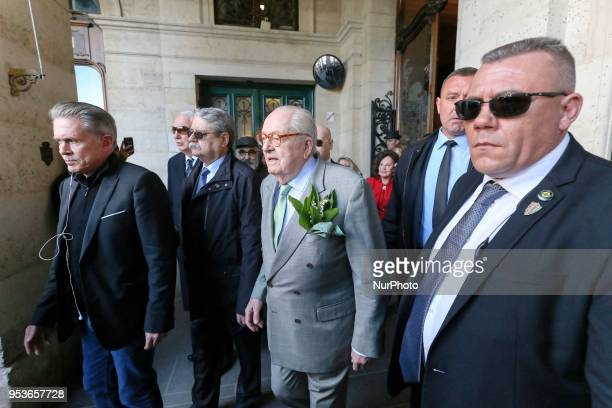 France's farright Front National party founder and former leader JeanMarie Le Pen attendS the annual rally in honor of Jeanne d'Arc at the Place des...