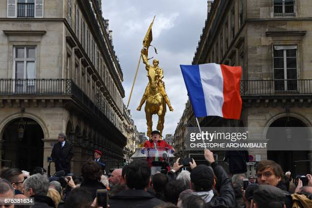 France's farright National Front founder JeanMarie Le Pen delivers a speech during a May Day rally in honour of Joan of Arc in Paris on May 1 2017 /...