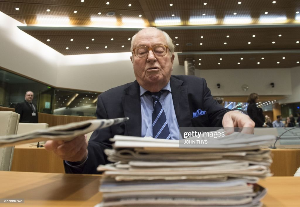 France's far-right National Front (FN) honorary president Jean-Marie Le Pen prepares to appear before the Court of Justice of the European Union over accusations of misuse of European parliament funds, on November 23, 2017 in Luxembourg. /