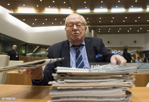 France's farright National Front honorary president JeanMarie Le Pen prepares to appear before the Court of Justice of the European Union over...