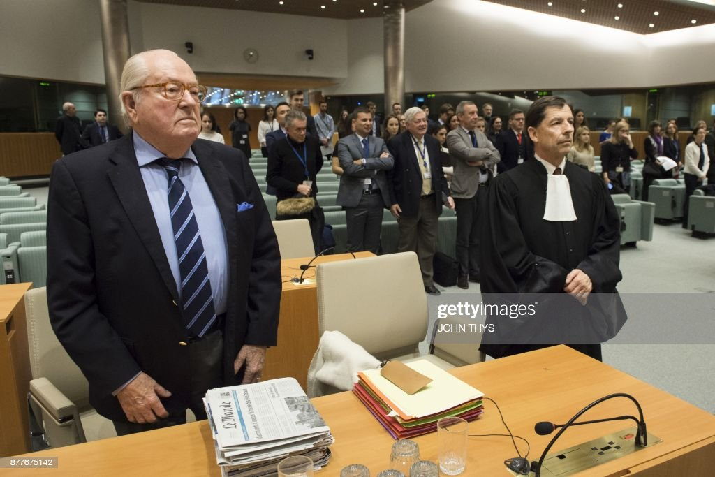 France's far-right National Front (FN) honorary president Jean-Marie Le Pen (L) stands next to his lawyer Francois Wagner (R) as he appears before the Court of Justice of the European Union over accusations of misuse of European parliament funds, on November 23, 2017 in Luxembourg. /