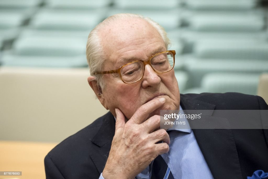 France's far-right National Front (FN) honorary president Jean-Marie Le Pen waits prior to appearing before the Court of Justice of the European Union over accusations of misuse of European parliament funds, on November 23, 2017 in Luxembourg. /