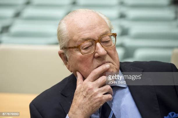 France's farright National Front honorary president JeanMarie Le Pen waits prior to appearing before the Court of Justice of the European Union over...