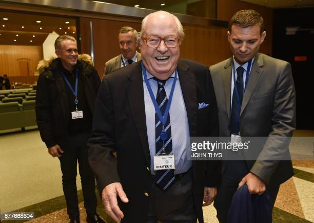 France's farright National Front honorary president JeanMarie Le Pen leaves after appearing before the Court of Justice of the European Union over...