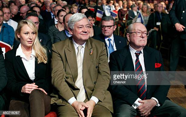 France's farright National Front party's French deputy Marion MarechalLe Pen FN's candidate for the municipal elections in Hyeres Bruno Gollnisch and...