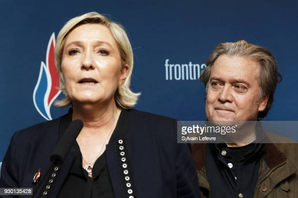 France's farright party Front National president Marine Le Pen and former US President Donald Trump advisor Steve Bannon give a joint press...
