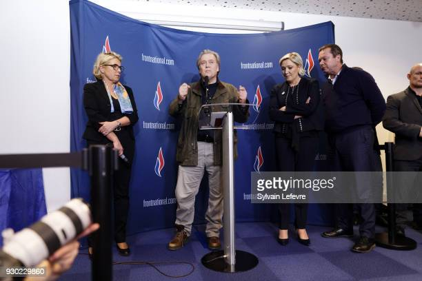 France's farright party Front National president Marine Le Pen and former US President advisor Steve Bannon give a joint press conference during the...