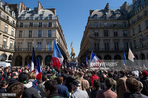 France's farright Political Party Front National founder and honorary President JeanMarie Le Pen addresses the crowd on stage during the party's...