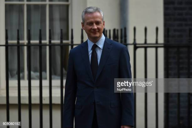 France's Finance Minister Bruno Le Maire arrives in a Downing Street in central London on March 6 ahead of his meeting with Britain's Chancellor of...