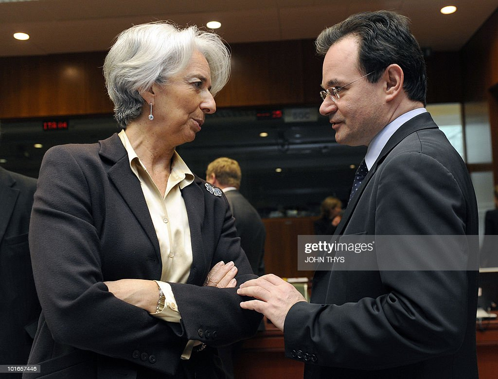 France's Finance Minister Christine Lagarde (L) talks with Greece's Finance Minister George Papaconstantinou (R) prior to an Economic and Financial Affairs Council (ECOFIN) on May 18, 2010 at the EU headquarters in Brussels. Europe's near trillion-dollar rescue fund for debt-laden eurozone countries has yet to be finalised, the eurozone's finance chief said.Ministers from the 16 countries that share the currency would meet for fresh talks Friday before the package could become operational, Luxembourg Prime Minister Jean-Claude Juncker said.