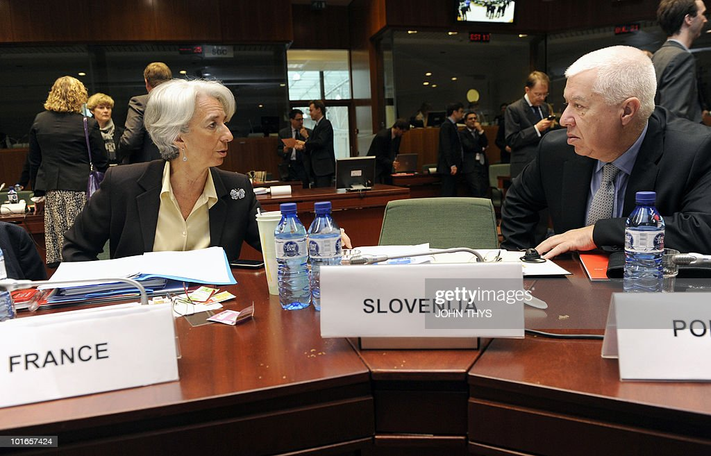 France's Finance Minister Christine Lagarde (L) talks with Portuguese Finance Minister Fernando Teixeira dos Santos (R) prior to an Economic and Financial Affairs Council (ECOFIN) on May 18, 2010 at the EU headquarters in Brussels. Europe's near trillion-dollar rescue fund for debt-laden eurozone countries has yet to be finalised, the eurozone's finance chief said. Ministers from the 16 countries that share the currency would meet for fresh talks Friday before the package could become operational, Luxembourg Prime Minister Jean-Claude Juncker said.