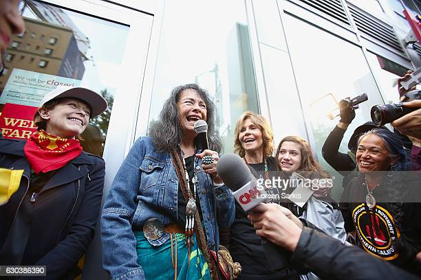 Frances Fisher Gloria Arianas Jane Fonda and Viva Vadim attend #BankExit Rally on December 21 2016 in Los Angeles California