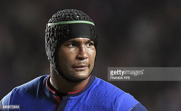 France's flanker and captain Thierry Dusautoir looks on during a Pool D match of the 2015 Rugby World Cup between France and Canada at Stadium MK in...