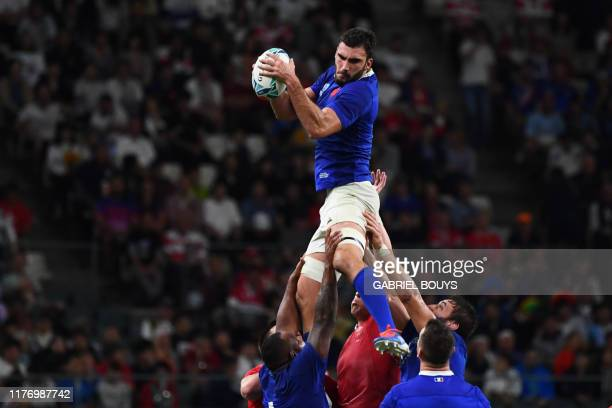 France's flanker Charles Ollivon catches the ball during the Japan 2019 Rugby World Cup quarterfinal match between Wales and France at the Oita...