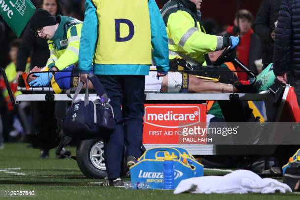 France's flanker Paul Boudehent is tacken off on a stretcher after picking up an injury during the Under20 Six Nations international rugby union...