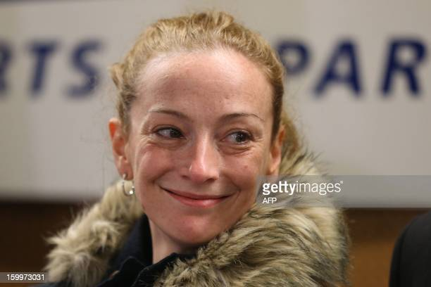 France's Florence Cassez os seen during a press conference upon her arrival at Roissy airport on January 24 2013 in RoissyenFrance after being freed...