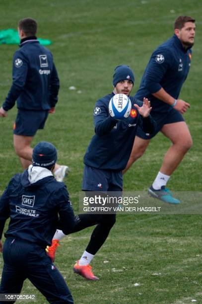 France's fly half Romain Ntamack and team mates take part in a training session on January 23 2019 in Marcoussis ahead of the Six Nations Tournament...