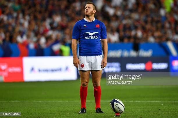 France's fly-half Camille Lopez looks on during the 2019 Rugby World Cup warm-up test match between France and Scotland, at the Allianz Riviera...