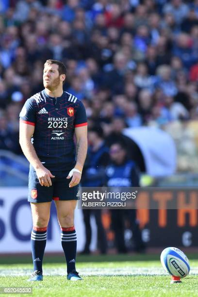 France's flyhalf Camille Lopez prepares to kick during the International Six Nations rugby union match Italy vs France on March 11 2017 at the...