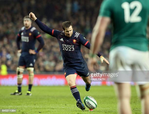 France's flyhalf Camille Lopez takes a penalty kick during the Six Nations international rugby union match between Ireland and France at the Aviva...