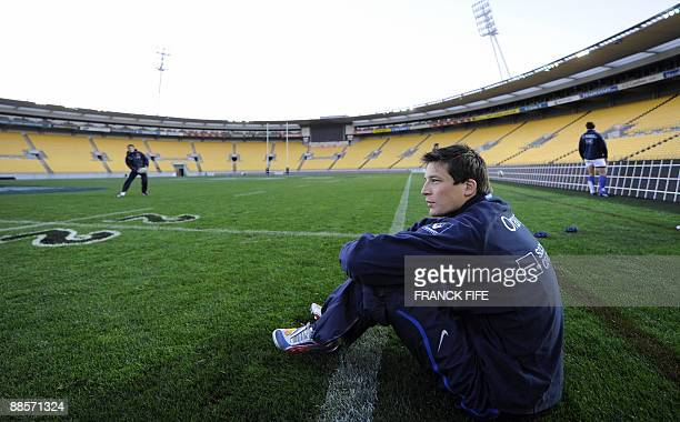 France's flyhalf Francois TrinhDuc takes a break during a training session at the Westpac Stadium in Wellington on June 19 2009 France on June 17...