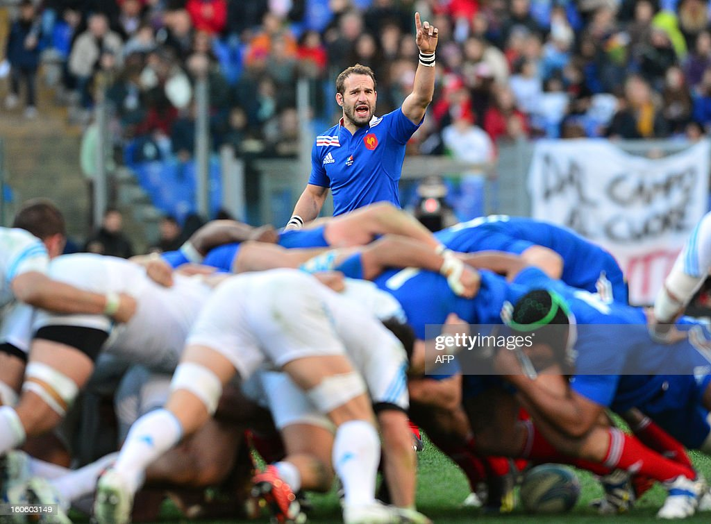 France's fly-half Frederic Michalak reacts during the Six Nations international rugby union match Italy vs France in Rome's Olimpic Stadium on February 3, 2013. Italy defeated France 23-18.