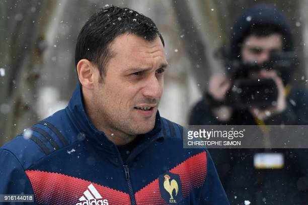France's flyhalf Lionel Beauxis arrives for a training session in Marcoussis near Paris on February 9 2018 ahead of the Six Nations rugby union match...